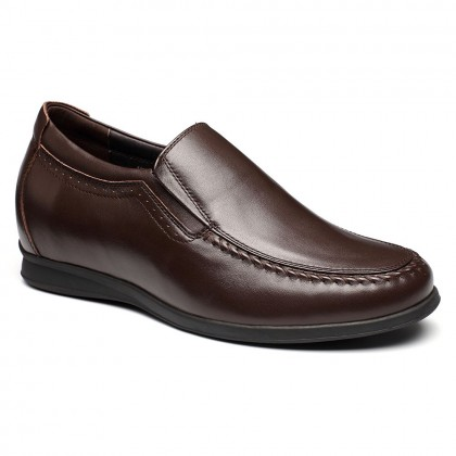 slip-on casual increasing height men cow leather shoes