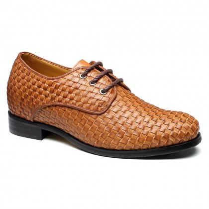 Noble Mens Elevator  Lift Shoes Shoes BESPOKE Calfskin Leather Yellow Brown Work Tailor Made Dress Shoes
