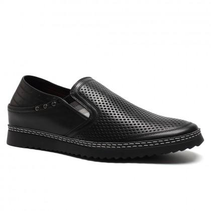 Black soft leather elevator men sandals Height Shoes