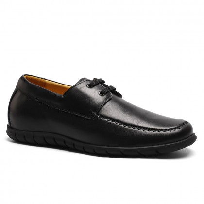 Comfortable soft leather casual elevating shoes to make men taller