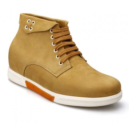 Hot Fashion Tall Men Suede Leather Elevator Boots Shoes With Lifts 7.5CM