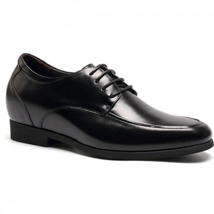 Round toe lace-up cow leather shoes for men to increase height