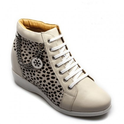 Elevator Shoes Lifts for Women Leopard Pattern Creamy White Boot