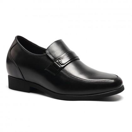 Convenient lace-less black height increase dress shoes