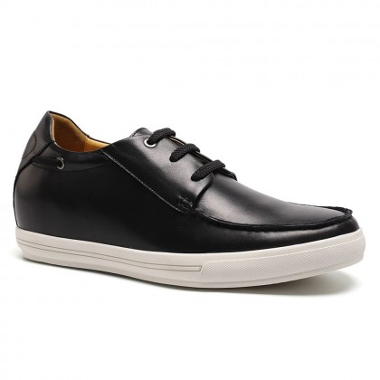 Black cow leather increase height men casual shoes 7cm / 2.76 inches