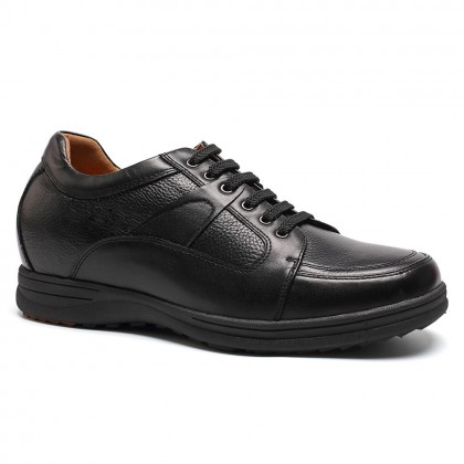 Black cow leather business casual height increasing shoes