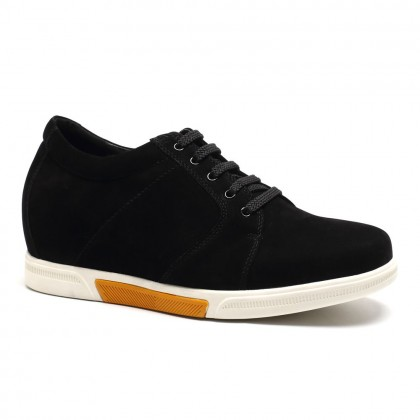 Elevator Mens Shoes First Layer Suede Leather Noard Style Casual Shoes