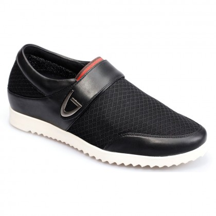 Men's Mesh Elevator Casual Height Increasing Shoes Lift  Shoes Black