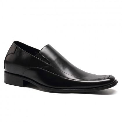 Formal Business Men Elevator Dress Shoes Black Loafers Soft Cow Leather  Elevator Shoes