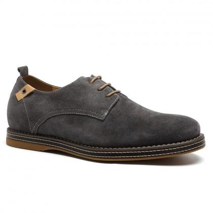Fashion Men Casual Grey Calfskin Leather 6CM Elevator Shoes