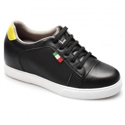 Men Black Elevator Shoes Microfiber Increasing Height Taller Sport Shoes