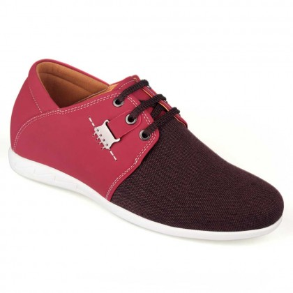 Spring Summer Elevator Shoes New Men Casual Rose Red Microfiber Shoes