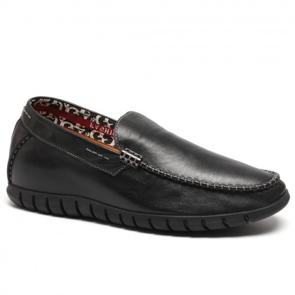 Soft cow leather elevator shoes loafers for men to get taller