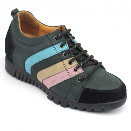 Casual Women Sport Comfortable With Lifts 6.5CM Grey Microfiber Elevator Shoes