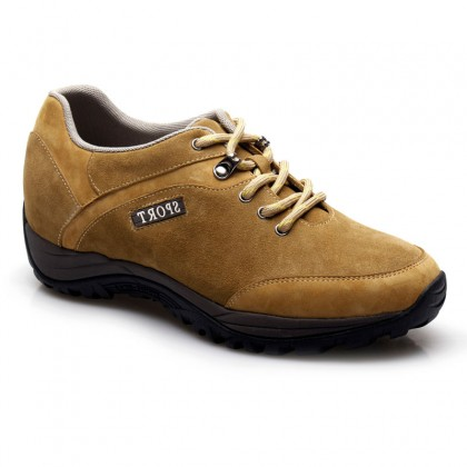 Suede leather brown lace-up hiking sport elevator shoes for men