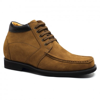 Tall men boots suede leather height increasing  shoes hiking ankle boots