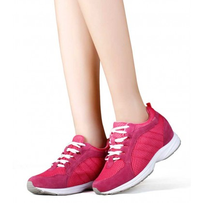 Height Increasing Women Sport Shoes Red Microfiber Elevator Shoes Sneaker 6.5CM