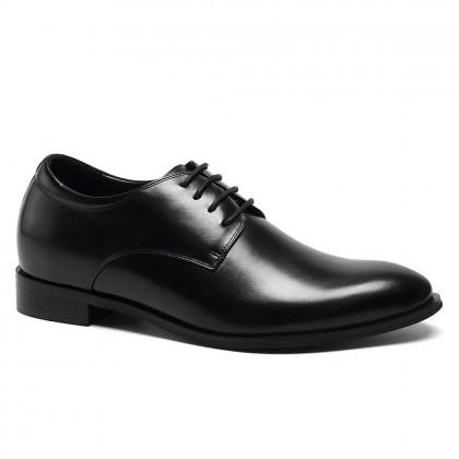 Cowhide Custom Made Black Height Increasing Elevator Shoes Derby Dress Shoes