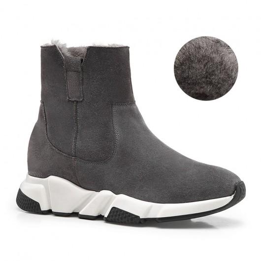 CHAMARIPA heightincreasingshoesforladies winter plus velvet warm women's elevator boots gray suede 7CM / 2.76 Inches
