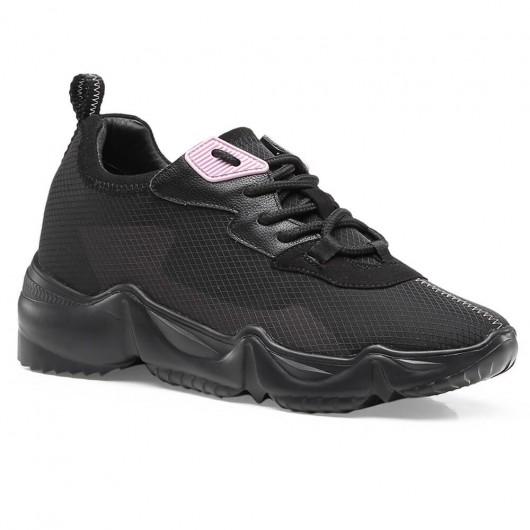 CHAMARIPA elevator sneakers for women hidden heel casual shoes women black mesh sneakers women 8CM / 3.15 Inches