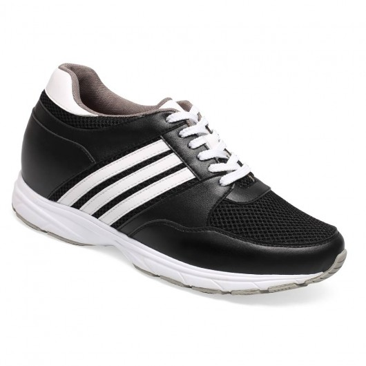 3.35 inch trendy microfiber sport height shoes Black