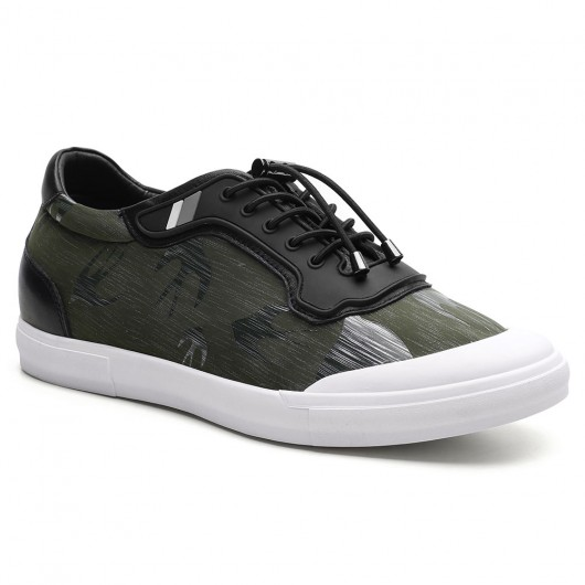 2.36 Inches Men's Elevator Sneakers Green Shoes with Heels for guys Man Shoes with Heels 6 CM