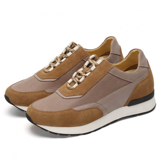 CHAMARIPA men's elevator shoes high heel men casual shoes taupe sneakers 7CM / 2.76Inches