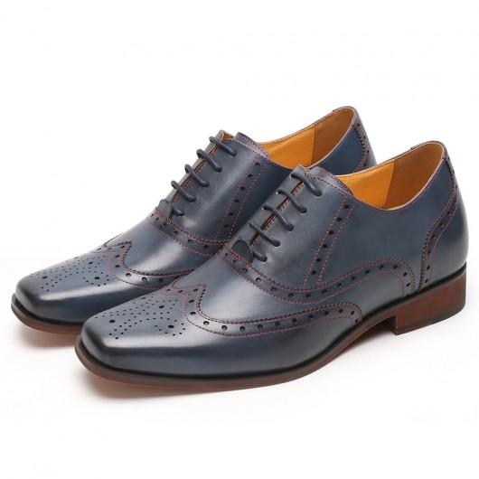 CHAMARIPA men's hidden heel shoes blue wingtip Oxford elevating dress shoes 7 CM / 2.76 Inches