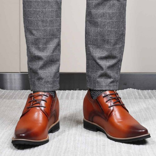 CHAMARIPA tall men dress shoes brown brush-off leather elevator shoes 9CM / 3.54 Inches