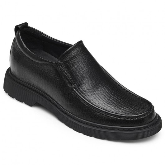 CHAMARIPA men's elevator loafer shoes taller loafers black leather shoes 6CM /2.36 Inches