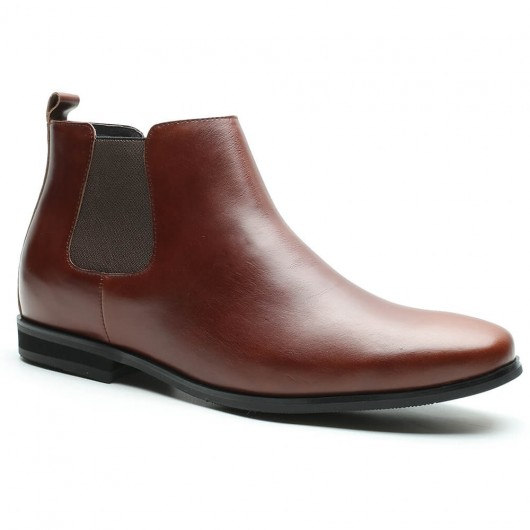 Chamaripa Tall Men Boots Height Increase Boots for Men Brown Chelsea Boots 7 CM / 2.76 Inches