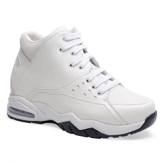 Chamaripa Height Increasing Sports Shoes High Top Elevator Sneakers White Men Taller Shoes 9.5CM/3.74 Inches