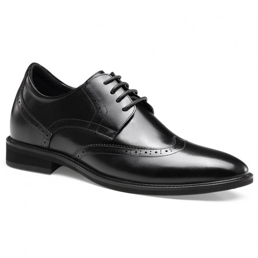 Chamaripa Formal Height Increasing Shoes Tall Men Shoes Black Wingtip Elevator Shoes 7 CM /2.76 Inches