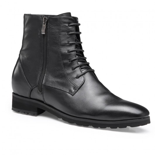 Chamaripa height increasing boots black leather tall men boots elevator shoes for men 7 CM / 2.76 Inches