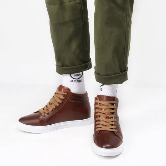 Chamaripa elevator sneakers brown leather high top sneaker that add height 7CM / 2.76 Inches