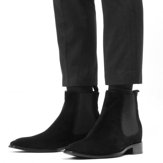 CHAMARIPA men's elevator shoes tall men shoes black suede boots 7CM / 2.76Inches
