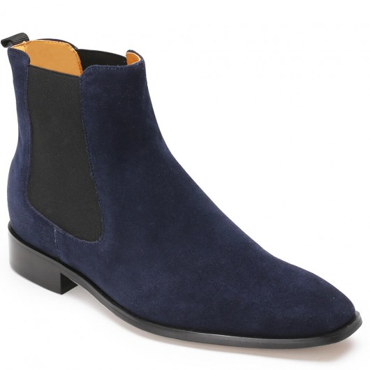CHAMARIPA men's Chelsea elevator boots blue suede leather boots that make you 7CM / 2.76 Inches taller