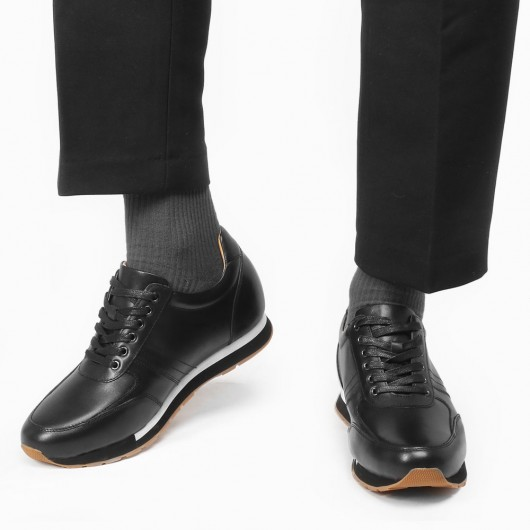 CHAMARIPA men's elevate sneakers hidden heel trainers black calf leather 7CM / 2.76Inches