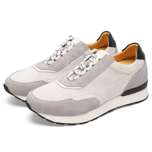 CHAMARIPA men's elevator shoes high heel men casual shoes white sneakers 7CM / 2.76Inches