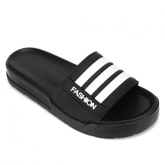 CHAMARIPA upgrade   men's platform slippers height increasing slippers black non slip indoor outdoor sandals 4CM / 1.57 Inches taller