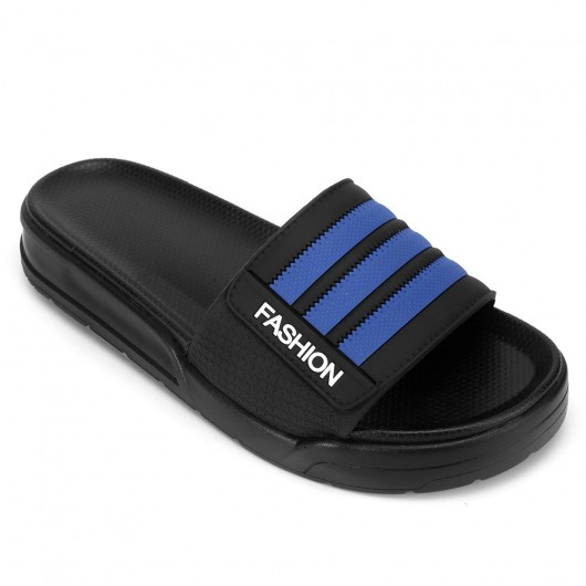 CHAMARIPA upgrade | men's platform slippers height increasing slippers blue non slip indoor outdoor sandals 4CM / 1.57 Inches taller