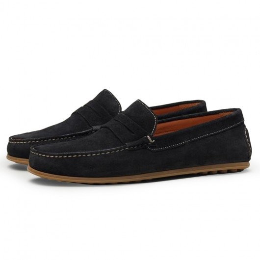 CHAMARIPA black height increasing suede loafers elevator shoes for men hidden heel shoes 7 CM / 2.76 Inches
