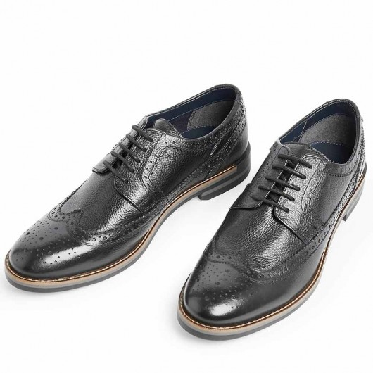 CHAMARIPA men's formal elevator shoes black leather brogues make you 7CM/2.76 Inches taller