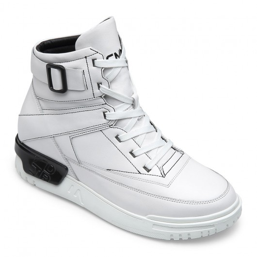 CHAMARIPA elevator sneakers - classic high top leather sneaker - white - 9 CM / 3.54 inches taller