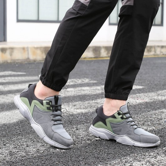 CHAMARIPA Height Increasing Sneaker Grey Leather & Mesh Sneakers Shoes That Make You Taller 8 CM / 3.15 Inches
