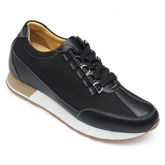 CHAMARIPA men's height increasing shoes hidden heel shoes canvas/leather business casual shoes in black 7CM/2.76 inches taller
