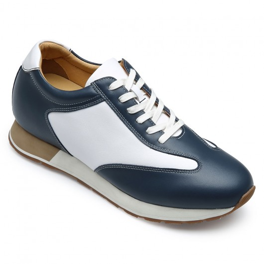 CHAMARIPA men's casual shoes to make you taller - leather casual elevator shoes - white/navy - 7 CM / 2.76 inches taller