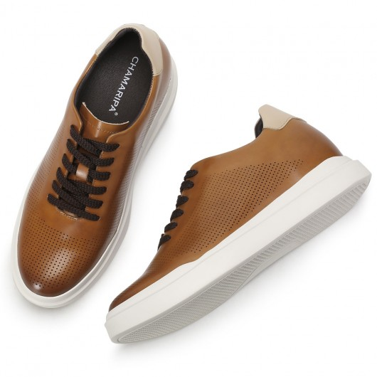 CHAMARIPA men's elevator sneakers low-top elevator sneakers brown leather shoes 7CM/2.76 Inches