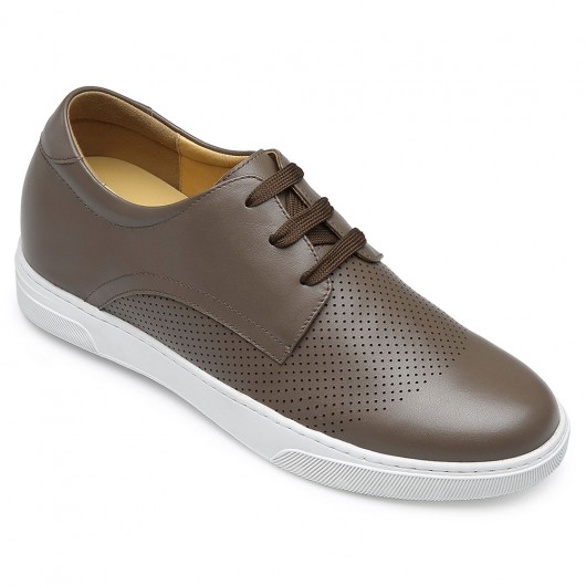 CHAMARIPA elevate sneakers for men hidden heel shoes camel perforated leather elevator sneakers 6CM/2.36 Inches taller