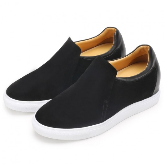 CHAMARIPA men's height increasing elevator sneakers black suede leather slip-on sneakers 7CM / 2.76 Inches